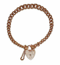 Fully Hallmarked 9ct Rose Gold Graduating Charm Bracelet With Heart Padlock