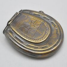 Antique brass horseshoe vesta match case & wick holder, horse racing design
