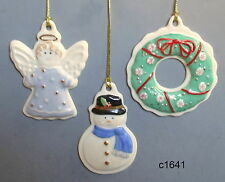 Lenox Holiday Sugar Cookie Christmas Ornament Angel Snowman Wreath - New in Box