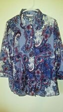 Allison Daley Blouse Size Large Paisley Button Red White Blue
