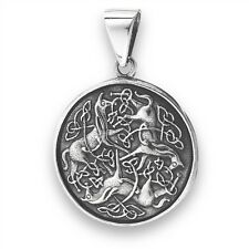 Intricate Sterling Silver EPONA HORSES Pendant 925 Celtic Jewelry