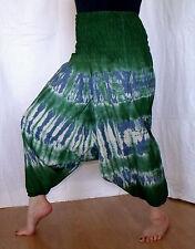Pluderhose Pumphose Haremshose Ballonhose blau grün Batik Indien Goa