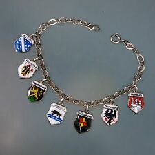 "GERMANY Vintage 800 & 835 Silver Travel Shield Tag Charm Bracelet 7"" long"