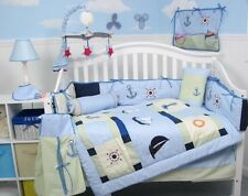 BOY CRIB BEDDING SAILBOATS LIGHTHOUSE ANCHOR Infant Baby Nursery 13 Pieces NEW