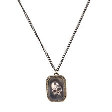 Halloween Jewelry Gift Magic Wizard Moveable Skull Case Pendant Necklace Chain E