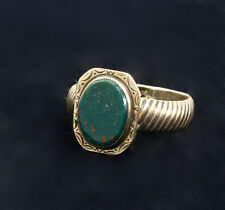 Fine Victorian Man's Antique Bloodstone 10-12k Yellow Gold Ring, Unisex