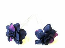 2x Deep Dark Purple Rose Flower Hair Pins Pastel Goth Bridesmaid Clip Vtg 1325