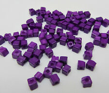 Free shipping Loose Charm 3-4MM 180pcs Glass Square spacer Beads deep purple