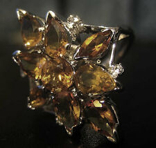 925 Uk Hallmarked Silver Citrine and Diamond Ring Size 7 N1/2