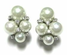 White CZ and White Shell Pearls Cluster Sterling Silver Drop Earrings