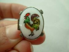 ANTIQUE HAND PAINTED ENAMEL SILVER TONE OVAL TIE CLASP WITH ROOSTER COCK