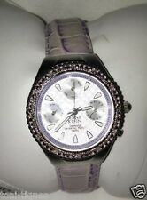 Anne Klein Genuine Diamond Encrusted Watch Lavender Purple Leather Band $ 350.00