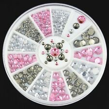 3D Glitter Nail art Carrousel blanc rose gris strass pour ongles 029