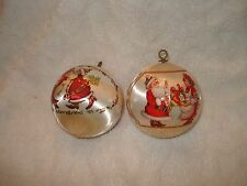 VTG-2-SILK BALL CHRISTMAS ORNAMENTS 1983 MR-MRS-SANTA KISSES & D& D PRESENTS  3""