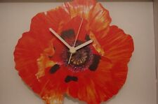 Red Poppy Flower novelty wooden wall clock British made by Lark Rise