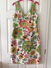 Boden lined dress in 60s design/colours size,14L, worn once