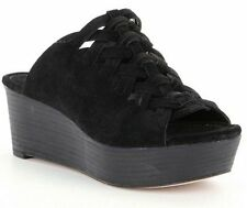 MICHAEL KORS Westley Slide 7 Suede Sandal Black Platform Wedge Open Toe