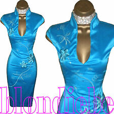 JANE NORMAN Exquisite TURQUOISE Satin ORIENTAL Pencil Wiggle DRESS UK 8