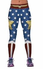 DC Comics WONDER WOMAN Logo W/ Stars Yoga Pants OSFM Leggings