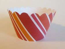 Cupcake Wrappers - Red / Orange Stripe 12 count