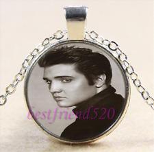 Elvis Presley Photo Cabochon Glass Tibet Silver Chain Pendant Necklace#Y8J