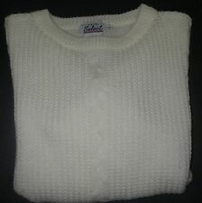 Women SWEATER Pullover Cable Knit Crewneck Acrylic Cream Long Sleeve Size L/G