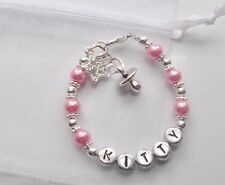baby girl, baby shower christening, 1st birthday  present personalised bracelet