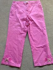 BNWT ZARA Pink Embroidered Cropped Trousers 12 Years 140-152cm