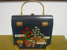Vintage Blue Painted Box Purse w/ Brass Metal Handle Lined Caro-Nan Flowers