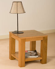 SOLID OAK LAMP SIDE TABLE WITH SHELF