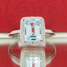 Genuine Emerald Cut Topaz Diamond Solid Silver Engagement Ring White Gold Finish