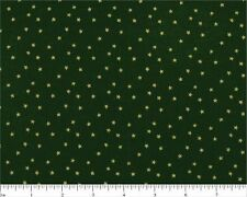 #I219 BTFQ Christmas Quilt Cotton Fabric  FAT QUARTER Gold Stars on Green