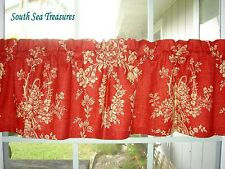 VALANCE - WAVERLY RED  AND BEIGE  COUNTRY HOUSE TOILE