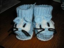 Boys hand knitted booties,0-3 months.