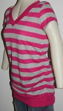 WOMEN  MATERNITY BLOUSE TOP LARGE PINK AND GRAY STRIPES