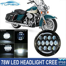 "7"" Round CREE LED Projector Daymaker Headlight DRL Hi/Lo For Harley Motorcycle"