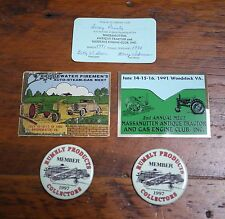Vtg Virginia Tractor Engine Club Collector Pins Metal Plaques Membership Card