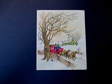 #L208- Vintage Unused Glittered Xmas Greeting Card Red Carriage Ride in Winter