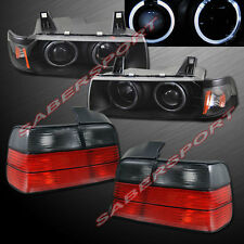 92-98 BMW E36 3-SERIES 4DR SEDAN HALO PROJECTOR HEADLIGHTS BLACK + TAIL LIGHTS