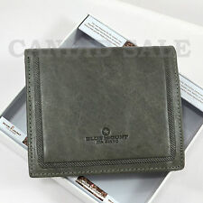 Classic Grey MAN LEATHER Bifold Mens WALLET CARD PURSE