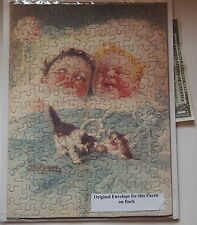Vintage Jigsaw Puzzle Baby Twins with Kittens + Mailing Envelope by Roseland