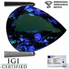 3.62 Ct IGI Certified AA Natural D Block Tanzanite Violet Green Color Pear Cut