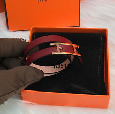 HERMES BEHAPI DOUBLE TOUR LEATHER BRACELET ROUGE GRENAT ROSE EGLANTINE GHW XS