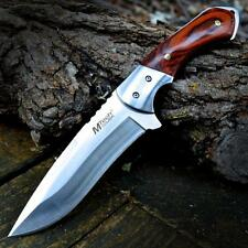 "9"" M-TECH TACTICAL Hunting Survival FULL TANG FIXED BLADE KNIFE Wood w/ SHEATH"
