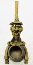 VINTAGE HANDMADE HIPPIE ART WIZARD CLAY & WOOD TOBACCO PIPE FANTASY MYTHICAL