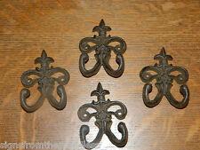 Set/4 Rustic French Fleur De Lis Tuscan Cast Iron Wall Coat Towel Pot Hldr Hook