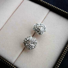White Gold gp Elegant 0.5ct Round Cut lab Diamond Pave Knot Stud Earrings New