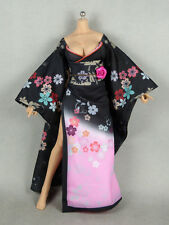 Phicen 1/6 SHI Kireina Female Black & Pink Traditional Floral Kimono Dress Set