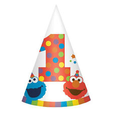 SESAME STREET Elmo Turns One CONE HATS (8) ~ Birthday Party Supplies Paper Favor