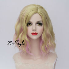 Lolita 35CM Blonde Pink Gradient Medium Curly Fashion Ombre Women Cosplay Wig